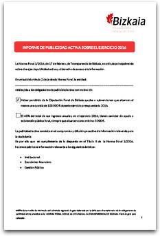 Informe de Publicidad Activa sobre el ejercicio 2016